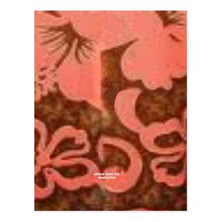 Flor del melocotón del hibisco (impresión de la postal