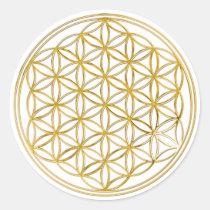 Flor del oro de la vida el |, pequeña etiqueta redonda