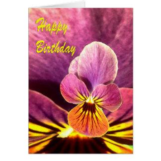 Flor del pensamiento del cumpleaños tarjeta de felicitación