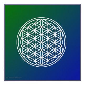 Flor del poster brillante del fondo azulverde de