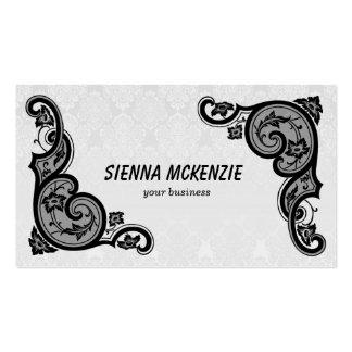 Flor del remolino (negro) tarjetas de visita