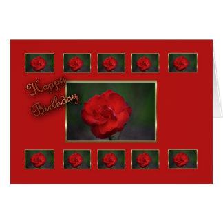 Flor del rojo de la esposa del feliz cumpleaños tarjetón