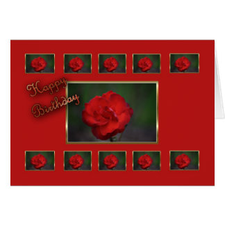 Flor del rojo de la esposa del feliz cumpleaños tarjeta de felicitación