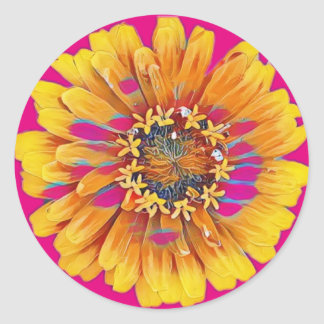 Flor del verano en la plena floración pegatina redonda