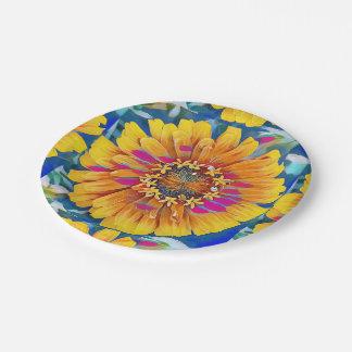 Flor del verano en la plena floración plato de papel