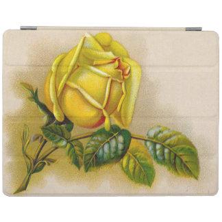Flor del Victorian del vintage del rosa amarillo Cubierta De iPad
