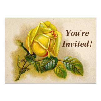 Flor del Victorian del vintage del rosa amarillo Invitación 11,4 X 15,8 Cm