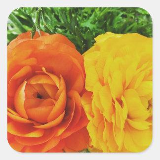 Flor doble del problema pegatina cuadrada