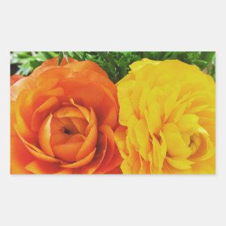 Flor doble del problema pegatina rectangular