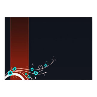 Flor expresivo de la aguamarina y remolinos invitación 12,7 x 17,8 cm