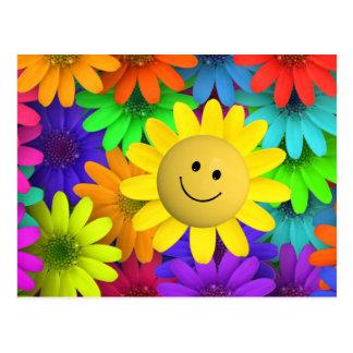 Flor feliz de la cara tarjeta postal
