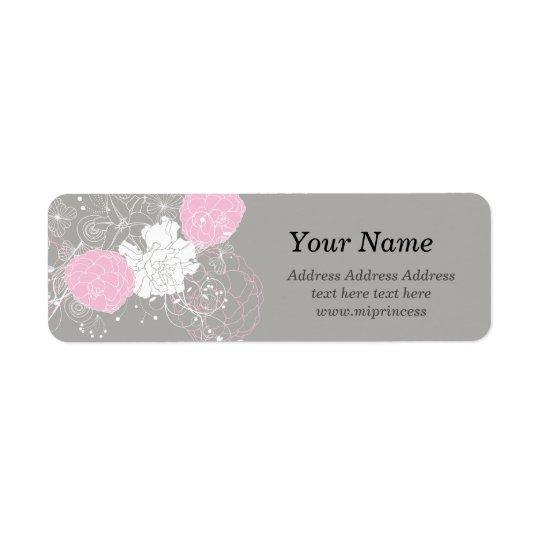 flor floral rosada, etiquetas del remite del