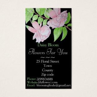 Flor fucsia rosada con el florista/el jardinero de tarjeta de negocios