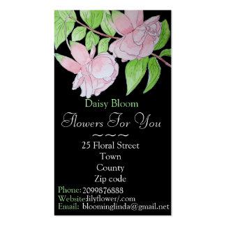Flor fucsia rosada con el florista/el jardinero de tarjetas de visita