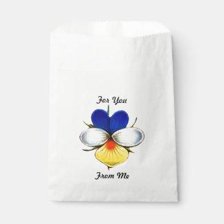 Flor ilustrada de la viola con el mensaje de bolsa de papel