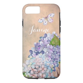 Flor Lila-Azul ideal del Hydrangea del verano Funda iPhone 7