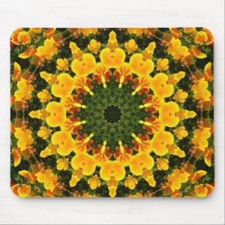 Flor-Mandala, amapolas de California 002 01 Alfombrilla De Ratón