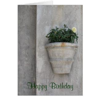 Flor moderna del feliz cumpleaños tarjeta de felicitación