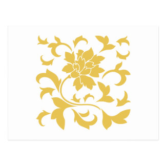Flor oriental - amarillo de la mostaza postal