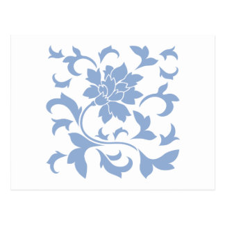 Flor oriental - azul de la serenidad postal