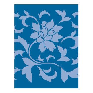 Flor oriental - azul de la serenidad y azul del postal