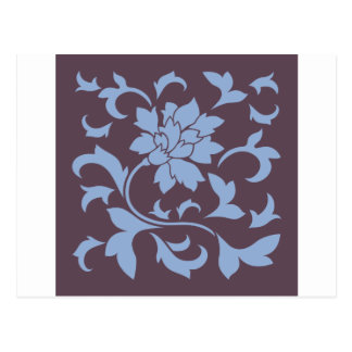 Flor oriental - azul de la serenidad y chocolate postal