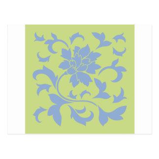 Flor oriental - azul de la serenidad y verde del postal