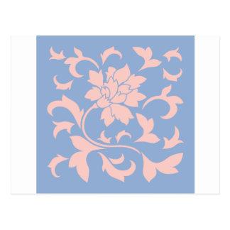 Flor oriental - azul del cuarzo color de rosa y de postal