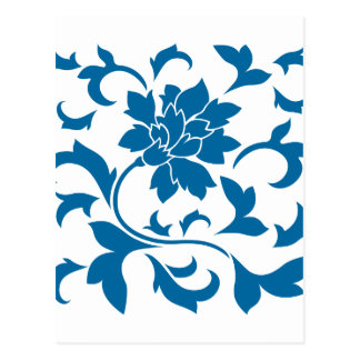 Flor oriental - azul del tubo respirador postal