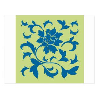 Flor oriental - azul del tubo respirador y verde postal