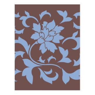 Flor oriental - azul y chocolate de la serenidad postal