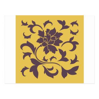 Flor oriental - chocolate y mostaza de la cereza postal