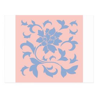 Flor oriental - cuarzo azul y color de rosa de la postal