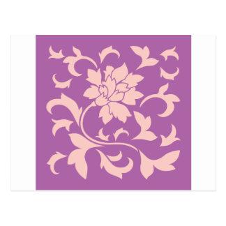 Flor oriental - cuarzo color de rosa y orquídea postal
