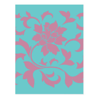 Flor oriental - fresa y turquesa pura postal