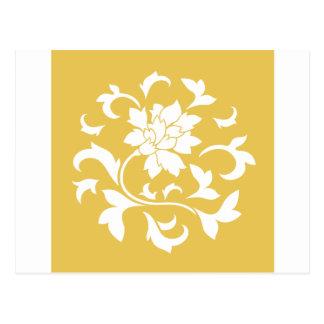 Flor oriental - modelo circular amarillo de la postal