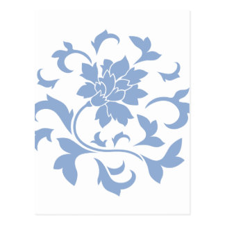 Flor oriental - modelo circular azul de la postal