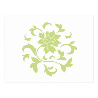 Flor oriental - modelo circular verde del daiquirí postal