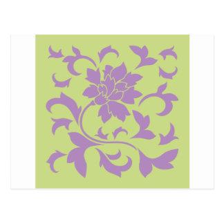 Flor oriental - verde de la lila y del daiquirí postal