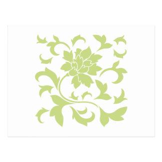 Flor oriental - verde del daiquirí postal
