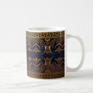 Flor-oro griego de la llave y de Lotus Taza De Café