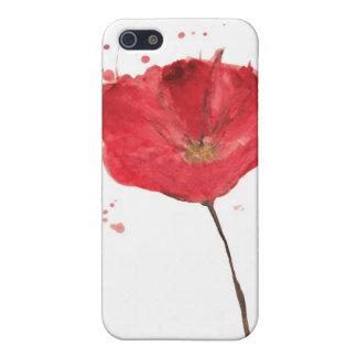 Flor pintada 2 de la amapola de la acuarela iPhone 5 carcasas