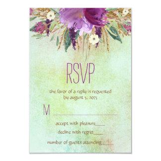 Flor pintada acuarela que casa RSVP Invitación 8,9 X 12,7 Cm