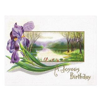 Flor Postal-Púrpura del iris del cumpleaños antigu Postal