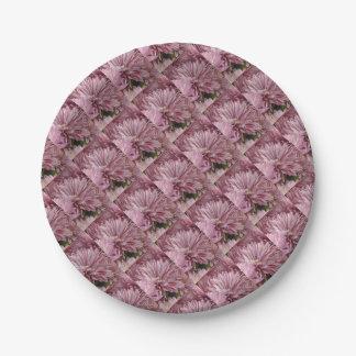 Flor rayada rosada plato de papel