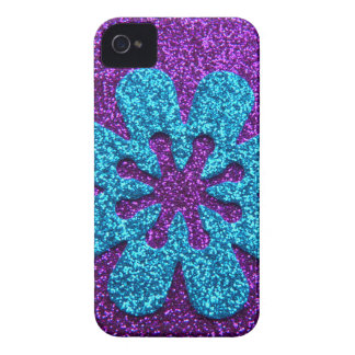 Flor retra de la púrpura y del brillo azul Case-Mate iPhone 4 coberturas