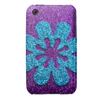 Flor retra de la púrpura y del brillo azul iPhone 3 Case-Mate funda