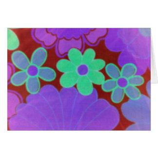 Flor retra de los años 70 brillantes tarjeta de felicitación