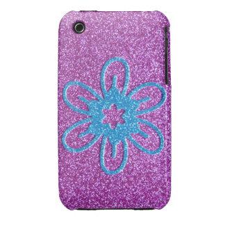 Flor retra del estilo - azul y púrpura iPhone 3 Case-Mate protector