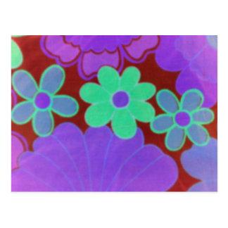 flor retra del resplandor de los años 70 postal